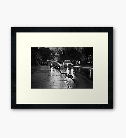 Unionport Road in the Rain (Black and White) Framed Print