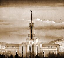Mount Timpanogos Temple - Sepia  by Ryan Houston