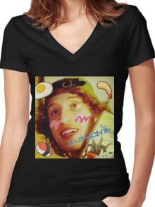 Kawaii LSD Face SKYSCRAPER Women's Fitted V-Neck T-Shirt