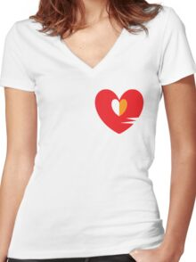 Unhappy Refrain Red Women's Fitted V-Neck T-Shirt