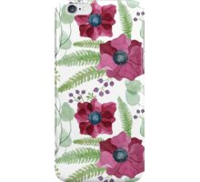 Dark red anemones pattern iPhone Case/Skin