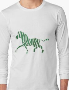 Zebra Green and White Print Long Sleeve T-Shirt