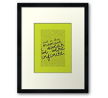We Were Infinite - Quotes - Green Framed Print