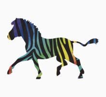 Zebra Black and Rainbow Print One Piece - Short Sleeve