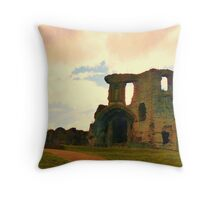 Denbigh Castle, in North Wales Throw Pillow