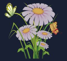 Cute daisies with butterflies One Piece - Short Sleeve