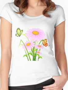 Cute daisies with butterflies Women's Fitted Scoop T-Shirt