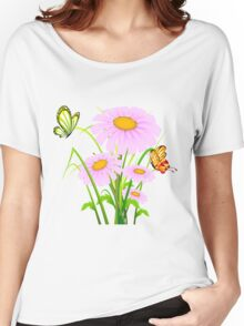 Cute daisies with butterflies Women's Relaxed Fit T-Shirt