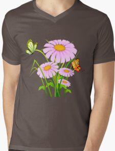 Cute daisies with butterflies Mens V-Neck T-Shirt