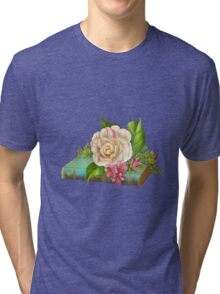 Flowers on the book Tri-blend T-Shirt
