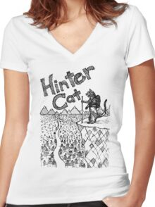 Hinter Cat Sketch Women's Fitted V-Neck T-Shirt