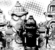 White and Black Hydrants poster by valizi