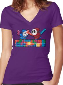 Shy Guys Playing Tetris Women's Fitted V-Neck T-Shirt