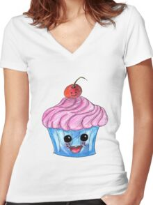 Smile cupcake Women's Fitted V-Neck T-Shirt