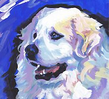 Great Pyrenees Mountain Dog Bright colorful pop dog art by bentnotbroken11