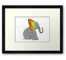 Elephant looking at Butterfly Framed Print