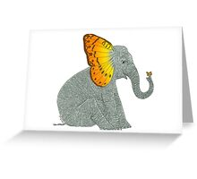 Elephant looking at Butterfly Greeting Card