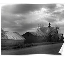 Deserted Row of Farm Buildings Poster