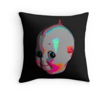 Tripped Out Doll Head Throw Pillow