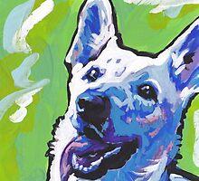 White German Shepherd Bright colorful pop dog art by bentnotbroken11