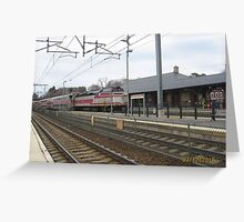 MBTA Commuter Line outbound to Stoughton Greeting Card
