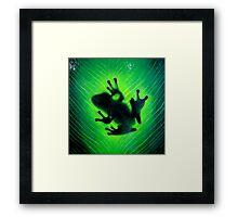 """""""Hide and seek"""" Green tree frog Framed Print"""