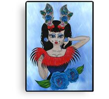tattoo antlers and roses  Canvas Print