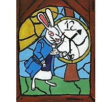 Stained Glass White Rabbit Photographic Print