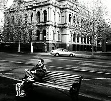 A man a dog and a building by sarsie