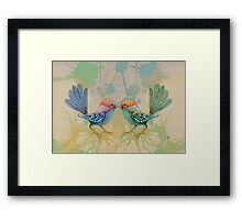 little love birds blue Framed Print