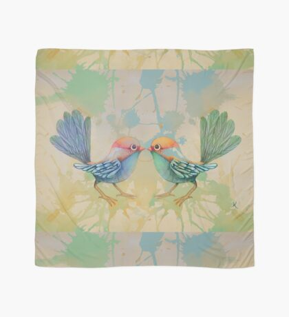 little love birds blue Scarf