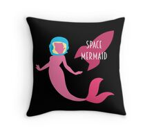 The Little Space Mermaid (Black) Throw Pillow