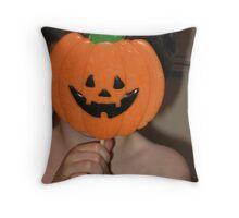 Pumpkin Face Sucker Boy Throw Pillow