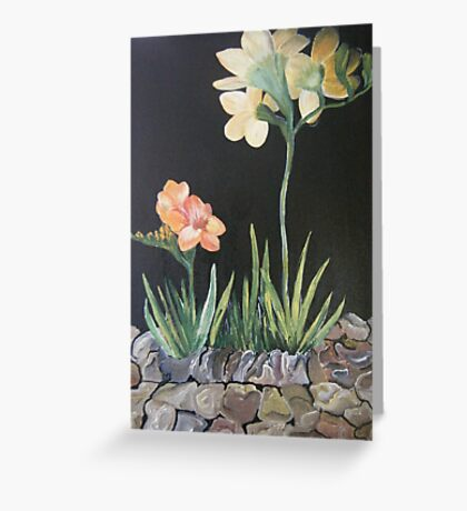 "Sweet Freesias - Mum said ""I smell their sweetness my day will be good"" Greeting Card"