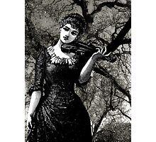 Woman, Violin, Trees Photographic Print