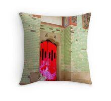 Red Door Temple Throw Pillow