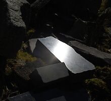 Reflection on Polished Granite, Merrivale (Tor) Quarry by cyberhippy