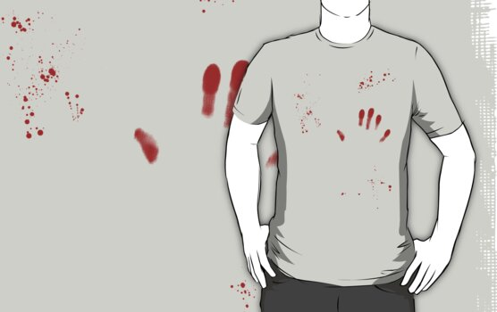 Blood splatter and hand print by Dan Treasure