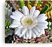White Gerbera Daisy and Lily Buds Canvas Print
