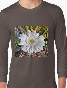 White Gerbera Daisy and Lily Buds Long Sleeve T-Shirt