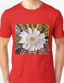 White Gerbera Daisy and Lily Buds Unisex T-Shirt