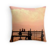 Sitting on a dock on a lake... Throw Pillow