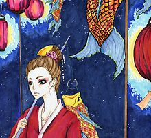 Koi and Paper Lanterns by andisartshop