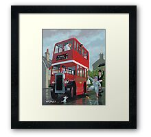 bus stop queue Framed Print