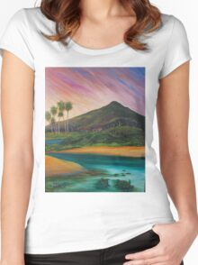 Yacaaba Headland Turtle Beach by Sheridon Rayment  Women's Fitted Scoop T-Shirt