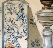 Still life with ginger jar and lamp, on toile. 2012Ⓒ Oil on canvas Sticker