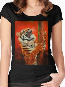 Tiger Tiger Burning Bright Women's Fitted Scoop T-Shirt