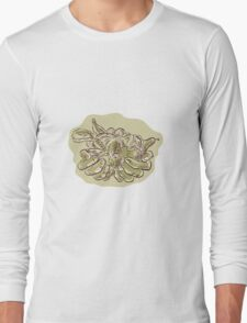 Hand Holding Crop Fruit Harvest Etching Long Sleeve T-Shirt