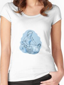 Laundry Maid Basket Vintage Etching Women's Fitted Scoop T-Shirt