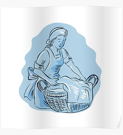 Laundry Maid Basket Vintage Etching Poster
